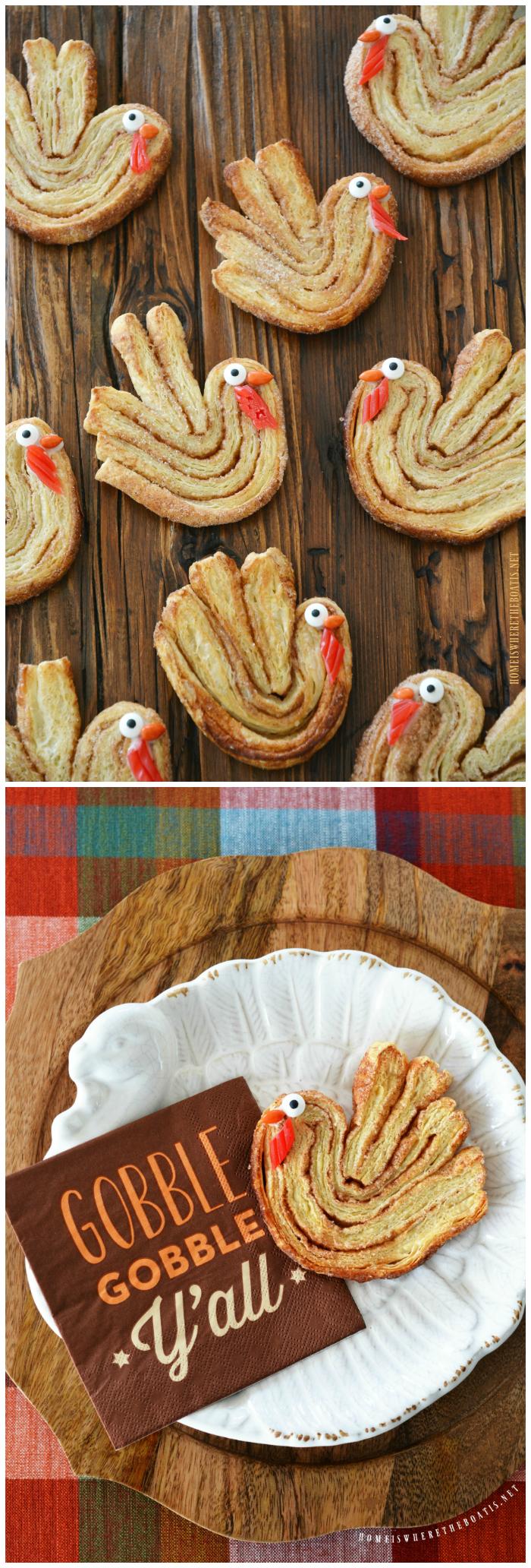 Cinnamon-Sugar Puff Pastry Turkeys! | ©homeiswheretheboatis.net #palmiers #Thanksgiving #turkey #cookies