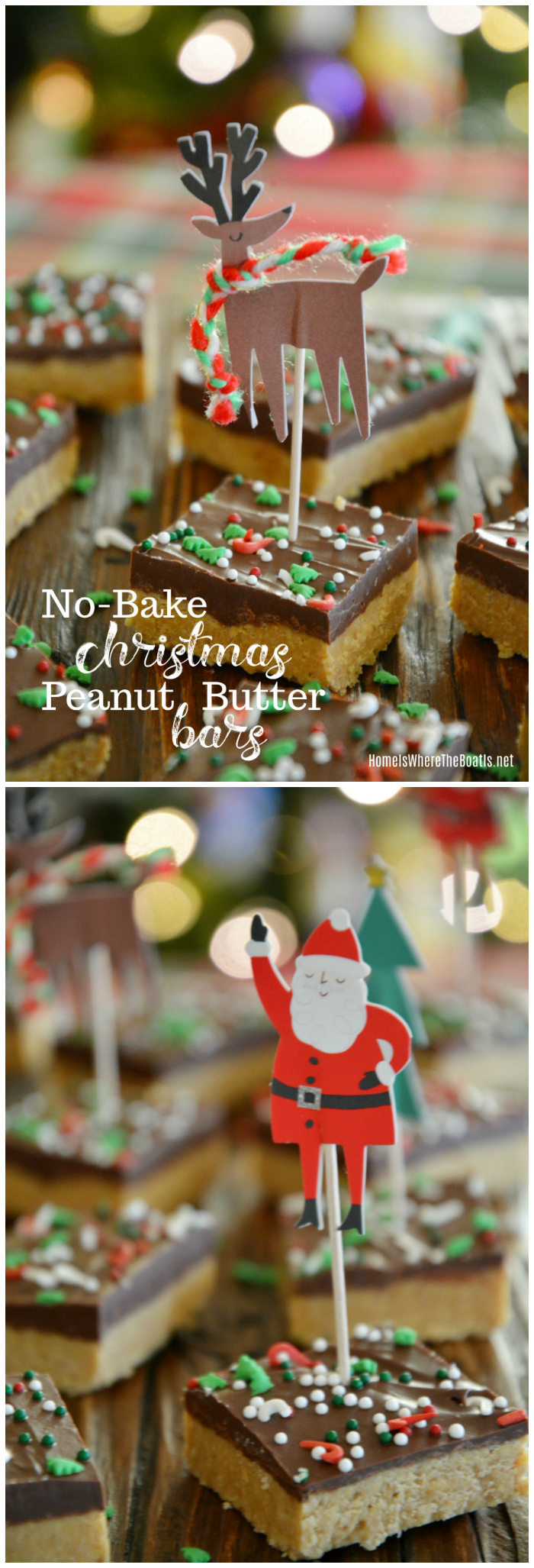 An Easy No-Bake Treat: Christmas Peanut Butter Bars! These bars come together in about 10 minutes plus an hour of refrigeration time to allow them to set. . .perfect for gift giving or to enjoy with your family for the holidays! | ©homeiswheretheboatis.net #Christmas #bars #nobake #easy #recipes #chocolate #peanutbutter