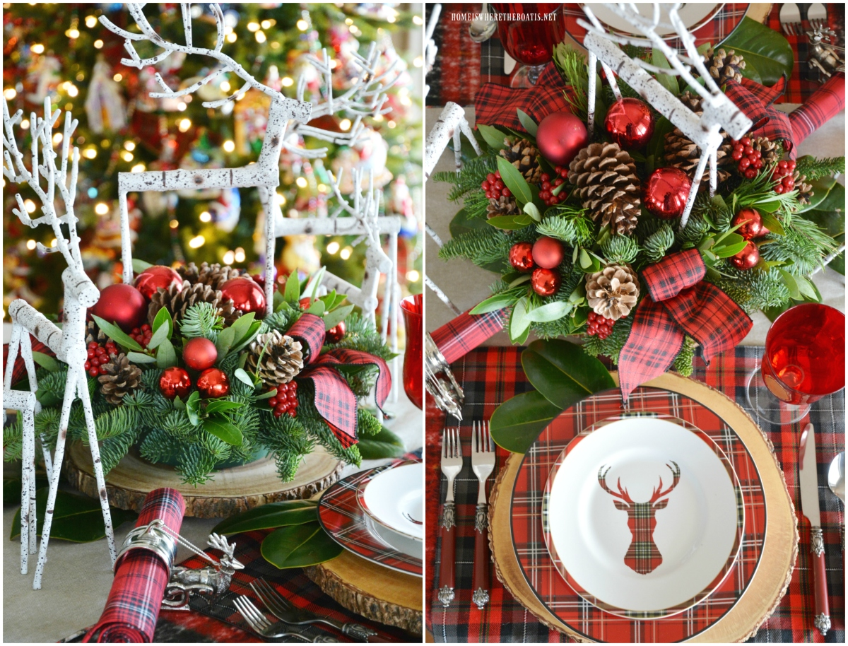 Oh Deer: Tartan Christmas Table for Two by the Tree
