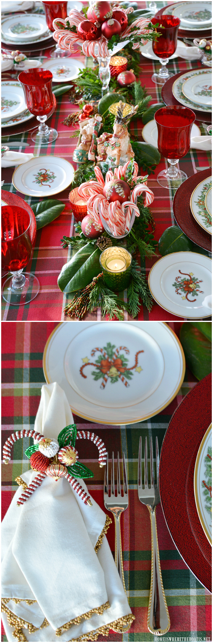 A Visit From St. Nicholas Christmas Tablescape | ©homeiswheretheboatis.net #Christmas #tablescapes #tablesetting #candycanes #redandgreen #reindeer #plaid