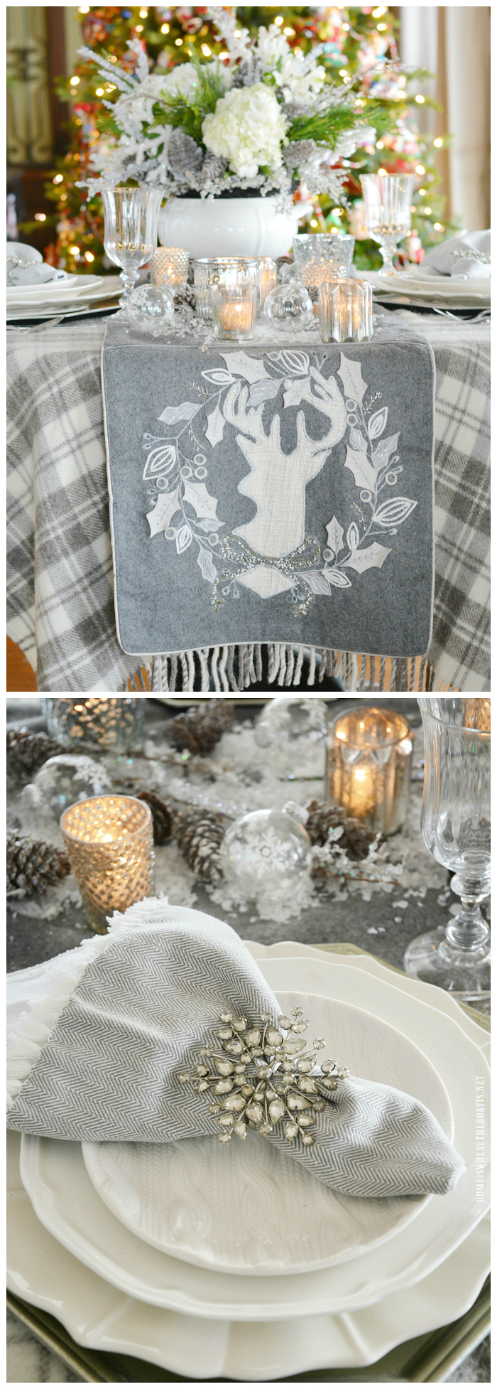 White Christmas flower arrangement and tablescapes with reindeer runner | ©homeiswheretheboatis.net #tablescape #christmas #winter #whitechristmas