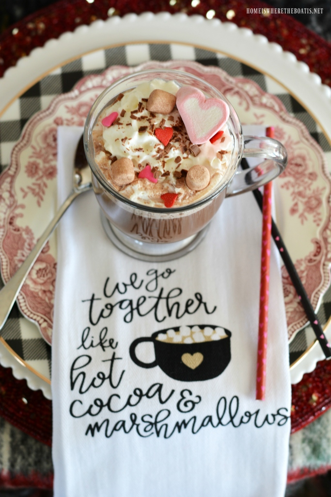 Hot Cocoa & Marshmallows Whimsical Valentine's Day Tablescape | ©homeiswheretheboatis.net #valentinesday #cocoa