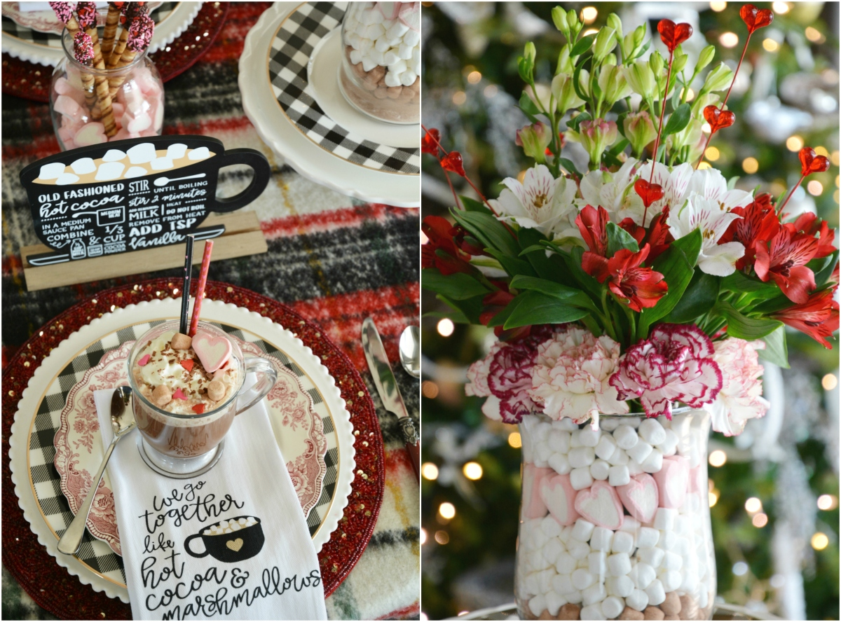Hot Cocoa & Marshmallows Whimsical Valentine's Day Tablescape