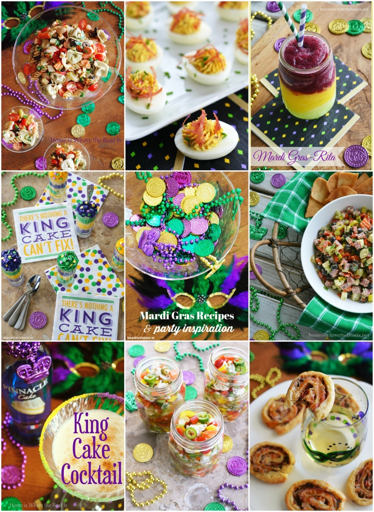Quick and easy recipes, party inspiration and cocktails for a taste of The Big Easy to celebrate Mardi Gras! You'll find recipes for Muffuletta Puff Pastry Pinwheels, Mini King Cake Parfaits, Muffuletta Dip, Homemade Italian Giardinera and more! | ©homeiswheretheboatis.net #mardigras #recipes #cocktails #appetizers