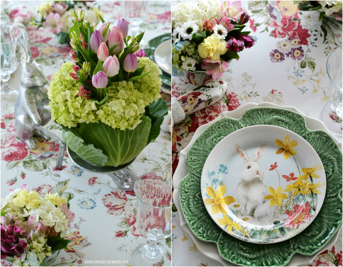 At the Table:  Farmer Bunny, A Blooming Cabbage and Hilltop Garden Friends