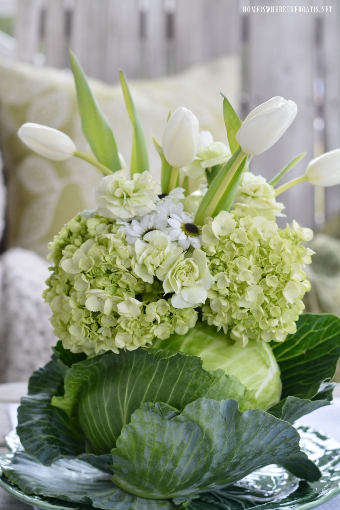 DIY Spring Green Cabbage Vase Floral Arrangement for St. Patrick's Day | ©homeiswheretheboatis.net #stpatricksday #flowerarrangement #cabbage #spring