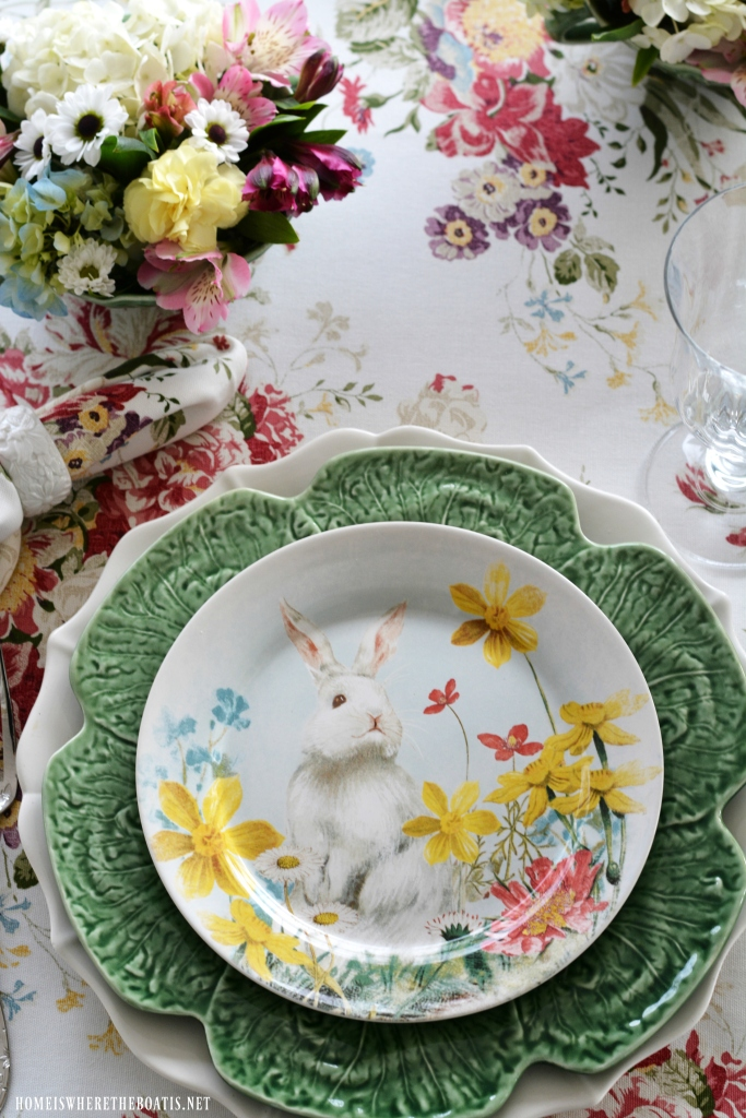 Spring table with bunnies | ©homeiswheretheboatis.net #spring #tablescape #bunnies #easter