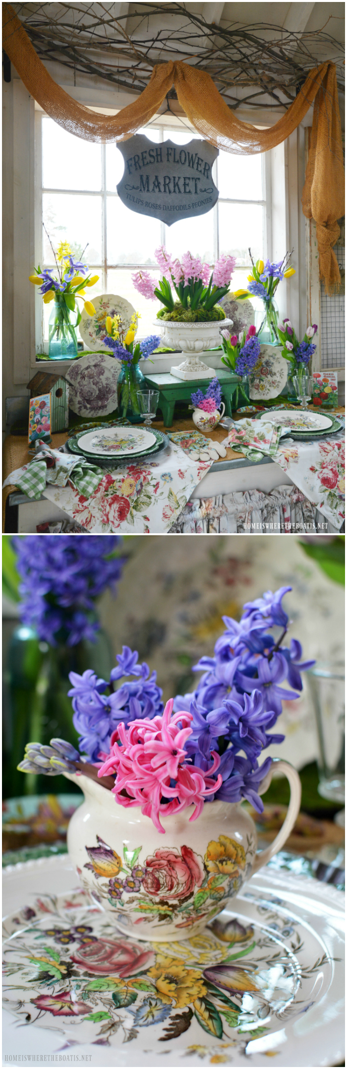 Celebrating the arrival of spring in anticipation of gardening season. Ball jar bouquets of hyacinths, tulips and iris provide spring blooms to pair with vintage transferware for some tabletop gardening in the Potting Shed.