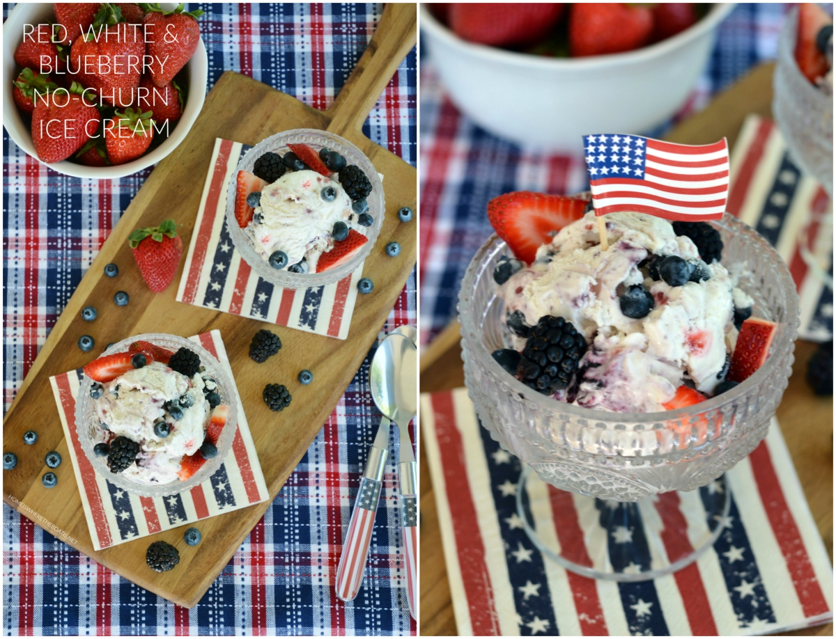 Red, White & Blueberry No-Churn Ice Cream