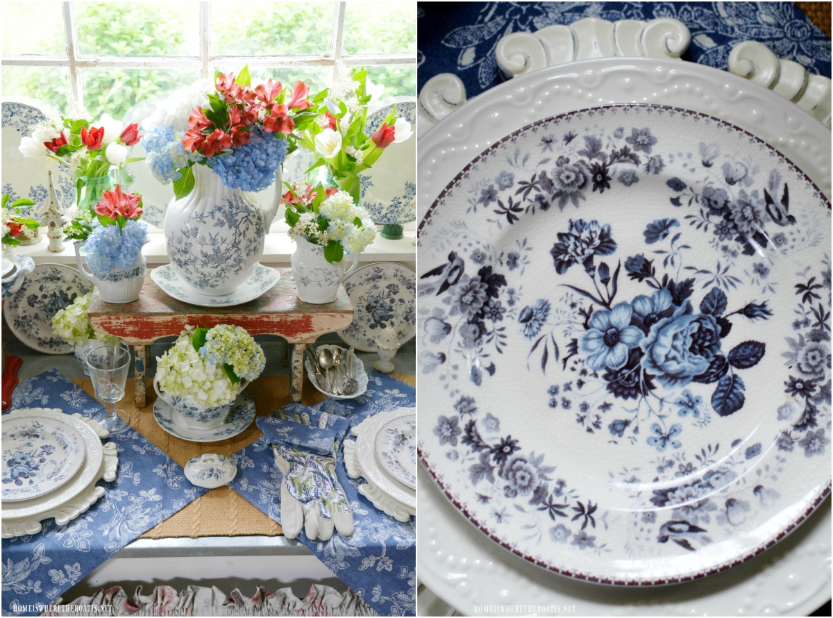 Celebrating the Red, White and Bloom: Transferware in the Potting Shed
