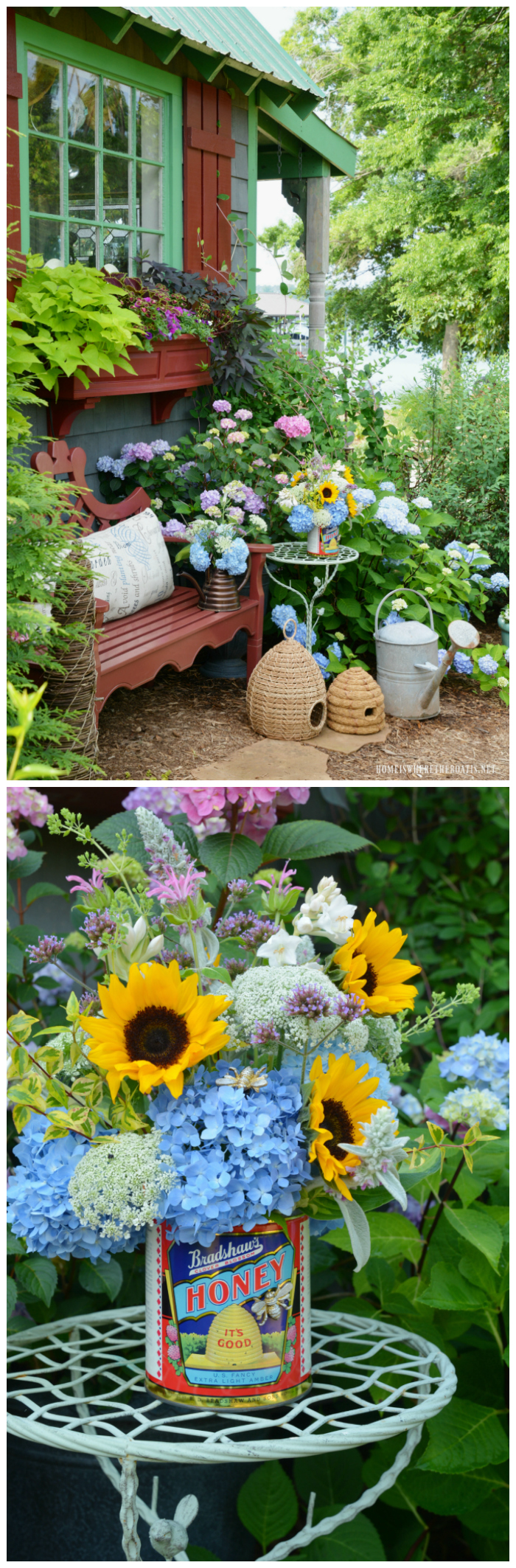 Think outside the vase and upcycle a vintage honey can as a vase for garden flowers. Post includes includes flower arrangement longevity tips and additional floral inspiration.