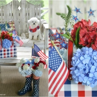 Easy Patriotic Flower Arrangement with a Picnic Tin, Mason Jars and Blooming Wellies
