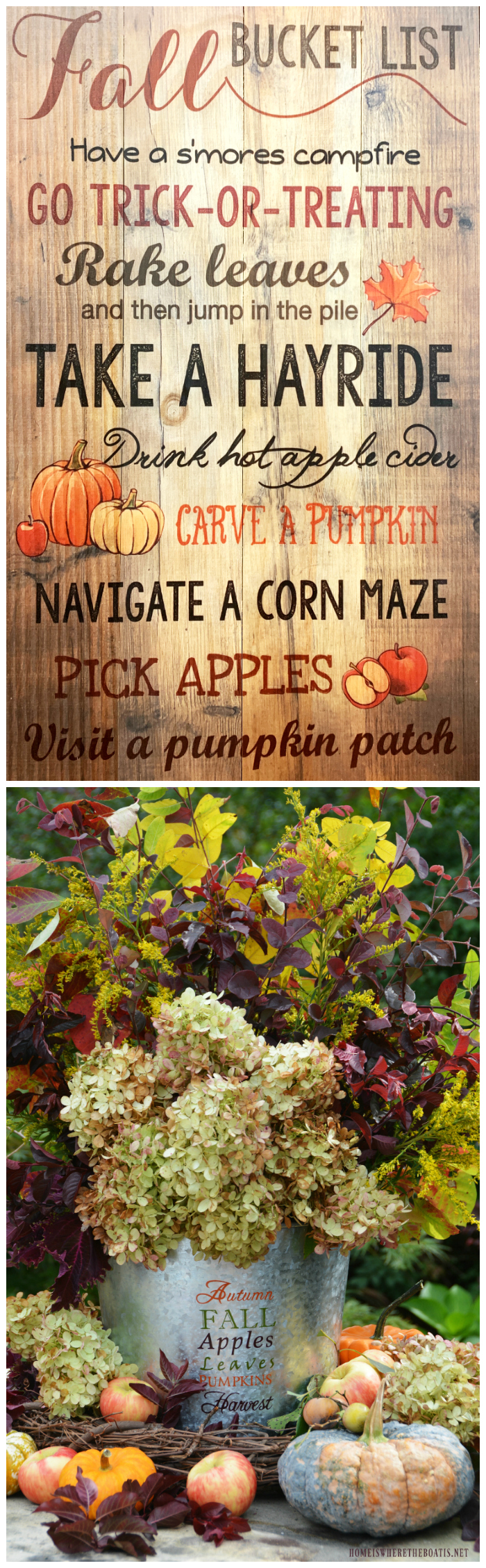 Fall Bucket List and Harvest Bucket Flower Arrangement | ©homeiswheretheboatis.net #fall #harvest