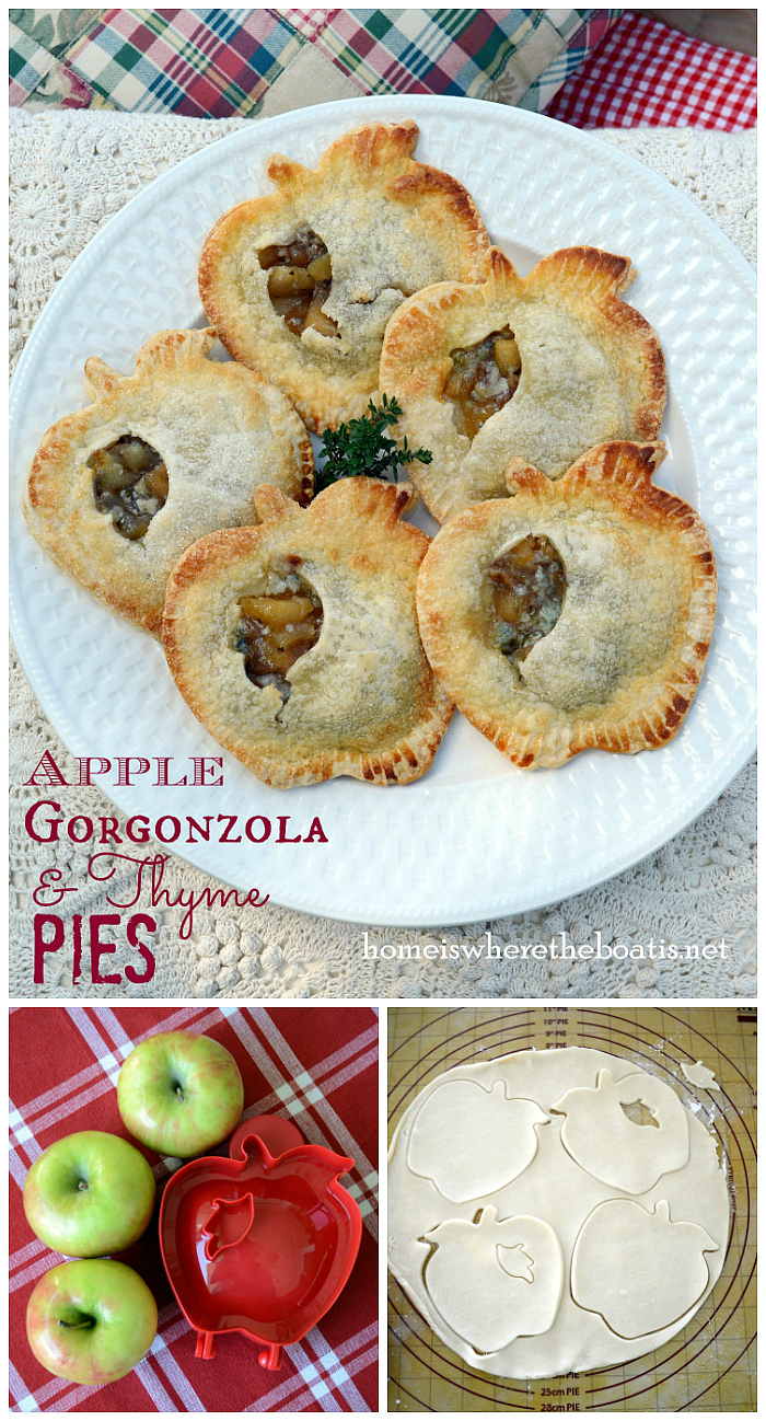 Apple, Gorgonzola & Thyme Pies | ©homeiswheretheboatis.net #apple #handpies