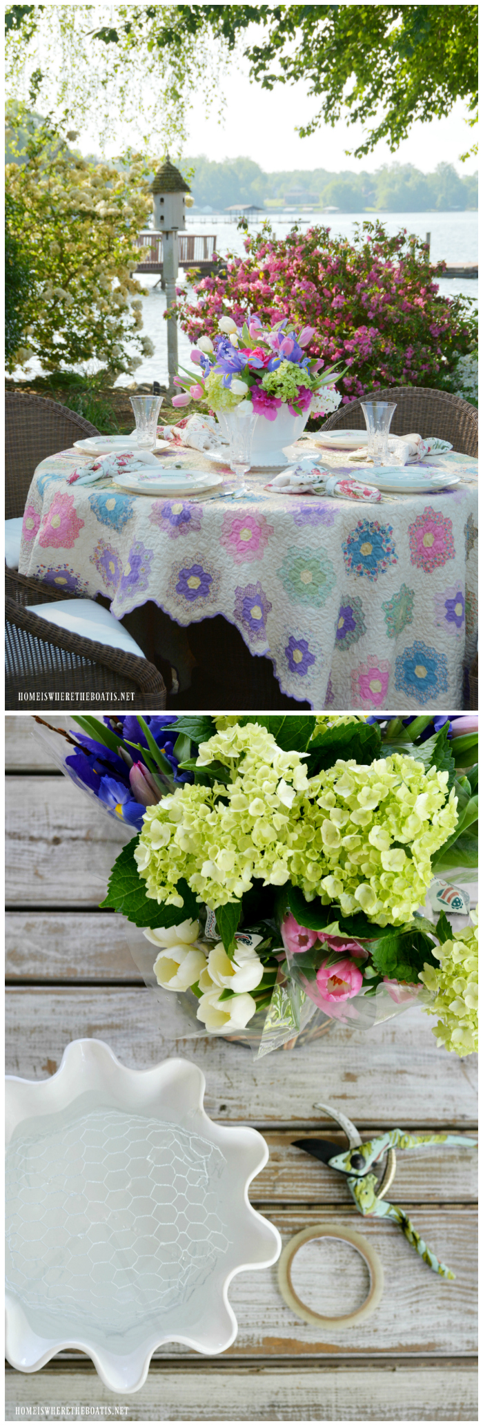 Flower Arrangement with Chicken Wire for Mother's | ©homeiswheretheboatis.net #flowers #garden #alfresco #mothersday #tablescapes