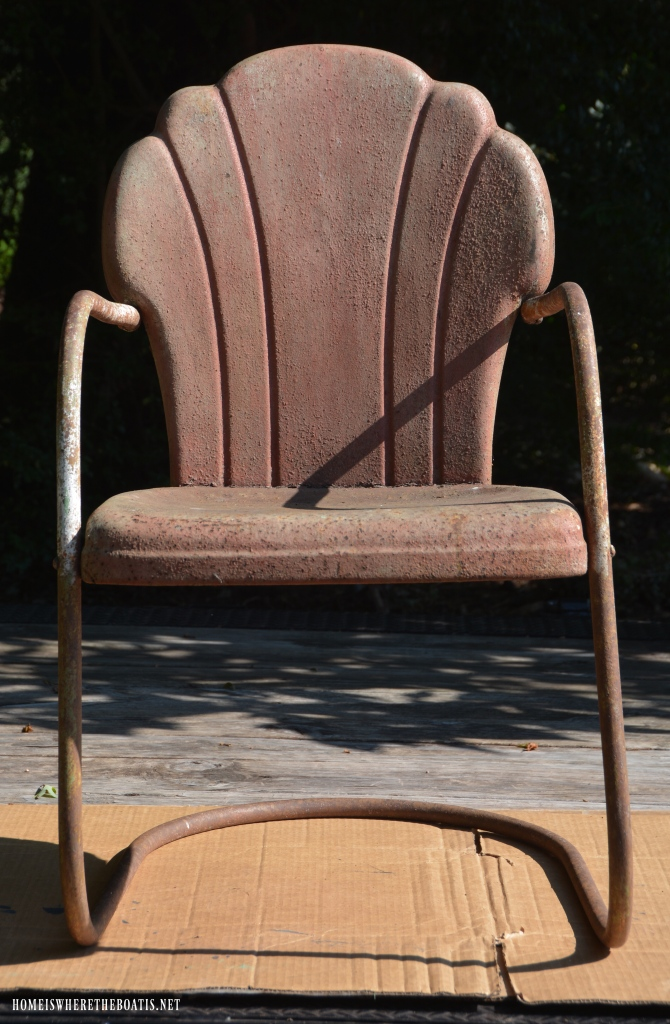 "Vintage Lawn Chair Refresh with Paint ""Before"" 