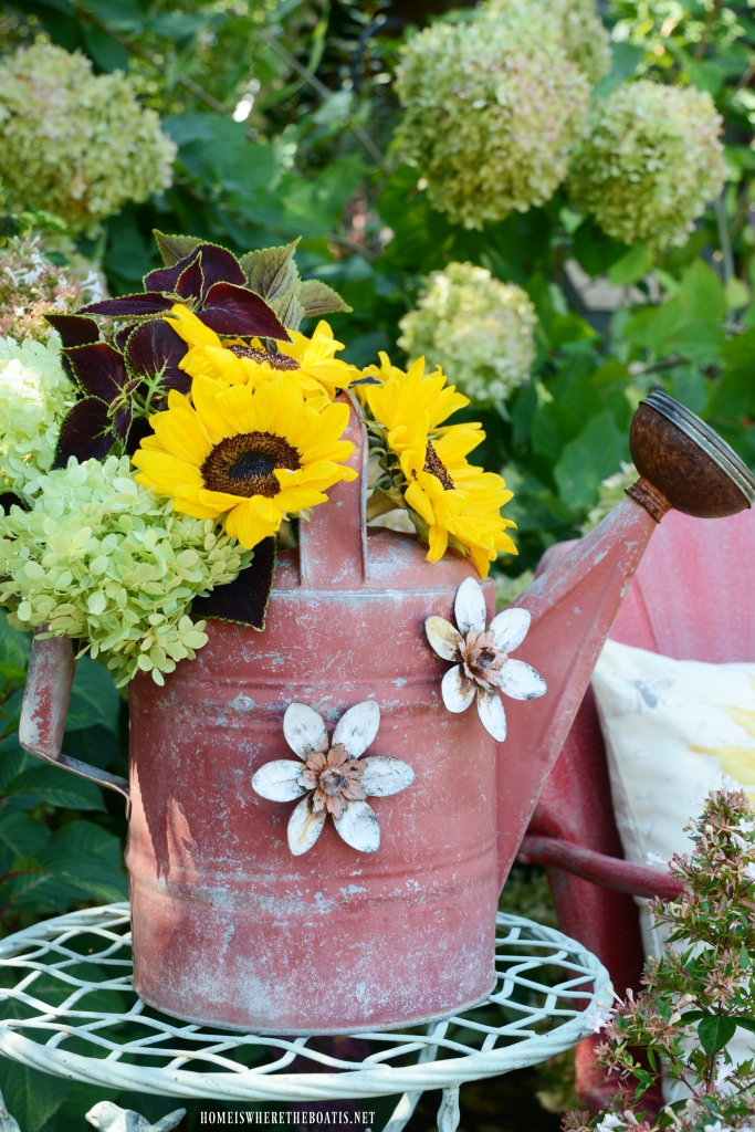 Sunflower and Watering Can | ©homeiswheretheboatis.net #chalkpaint #DIY #sunflowers