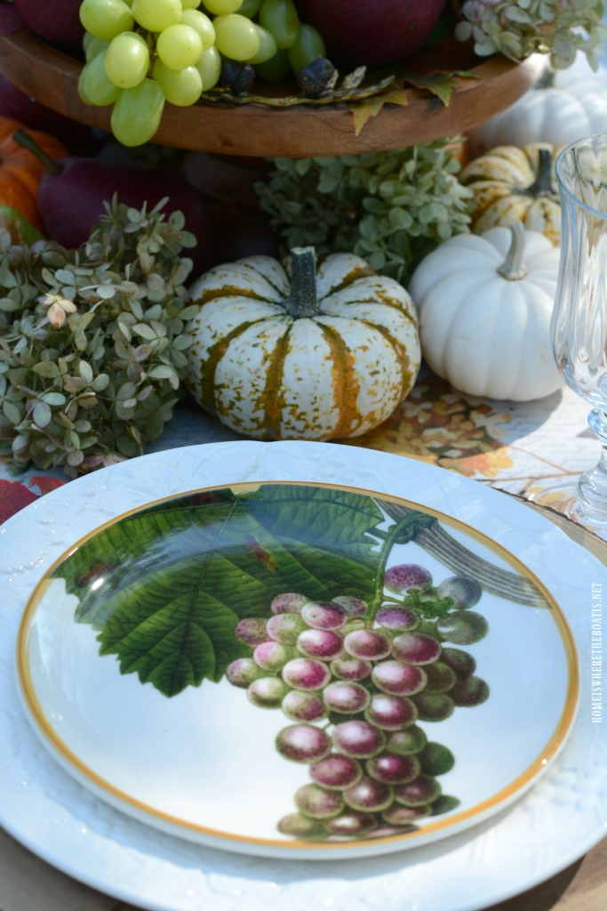 Grapes plate and botanical fall fruits tablescape | ©homeiswheretheboatis.net #tablescapes #fall #fruit #alfresco