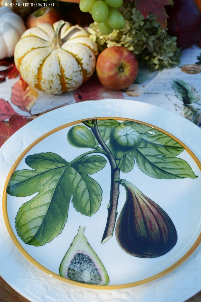 Fig plates and botanical fall fruits tablescape | ©homeiswheretheboatis.net #tablescapes #fall #fruit #alfresco