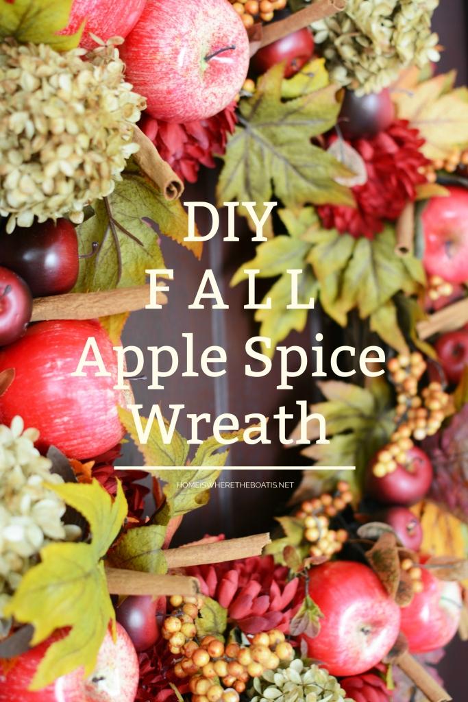 DIY Apple Spice Wreath | ©homeiswheretheboatis.net #fall #wreath #apples #DIY