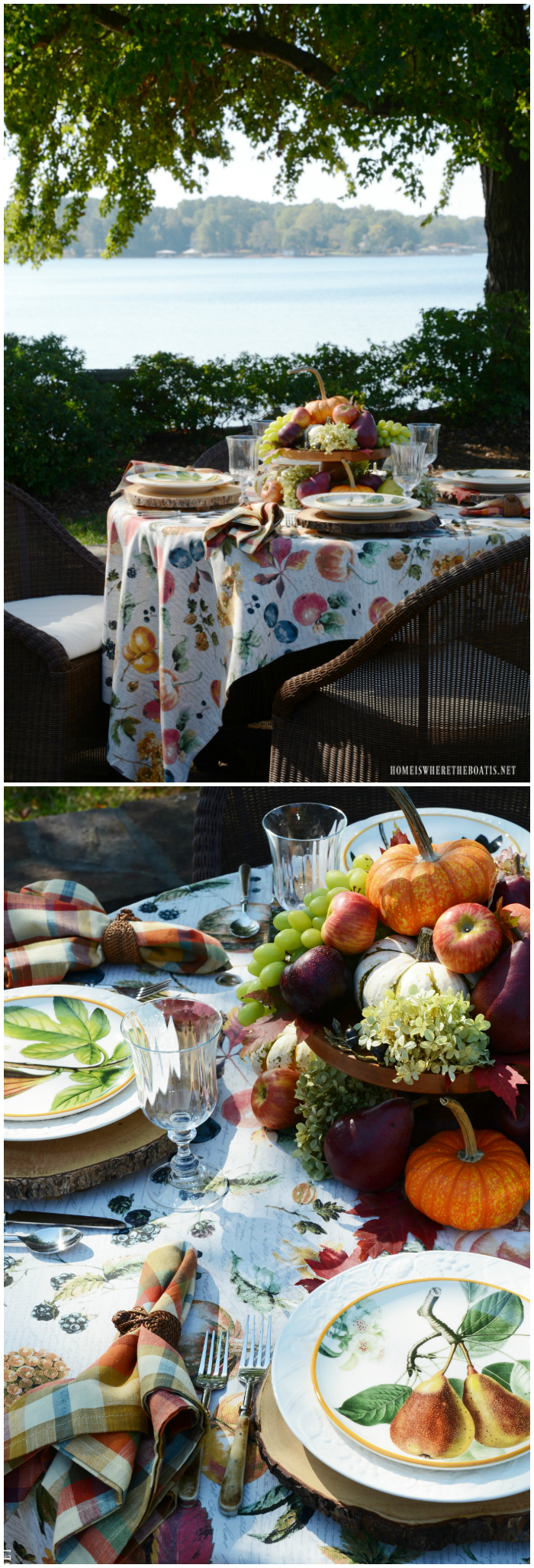 Botanical fall fruits tablescape and easy 5-minute centerpiece | ©homeiswheretheboatis.net #tablescapes #fall #fruit #alfresco #lake