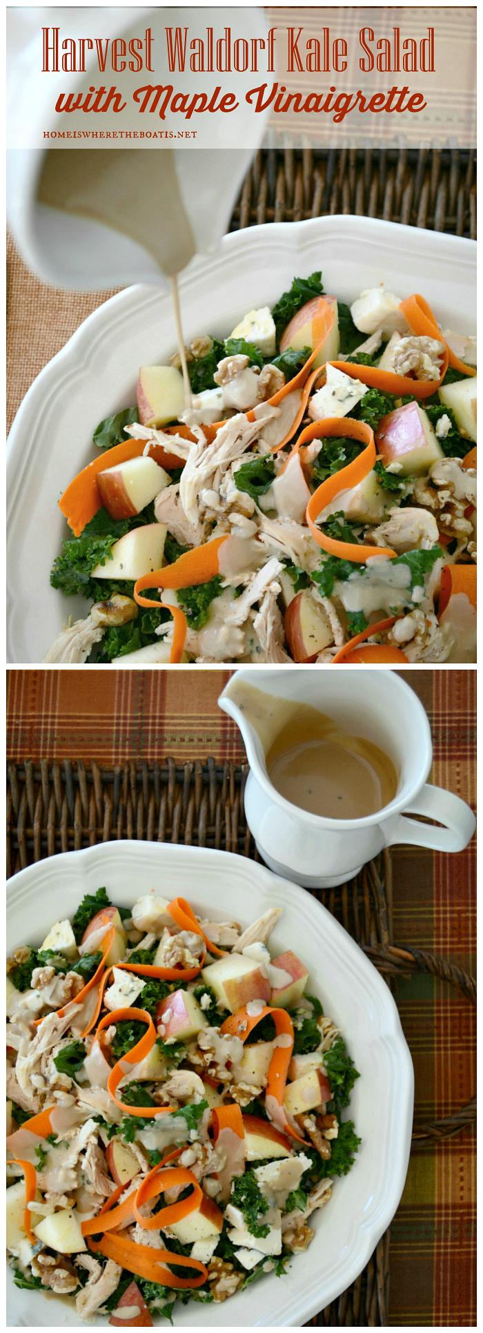Harvest Waldorf Kale Salad with MapleVinaigrette | ©homeiswheretheboatis.net #fall #salad #kale #apple