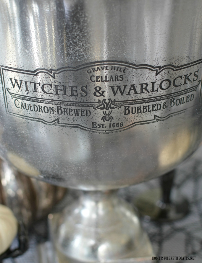 Grave Hill Cellars Witches & Warlocks, Cauldron Brewed Bubbled and Boiled, Established 1666 | ©homeiswheretheboatis.net #halloween #tablescapes #alfresco #lake