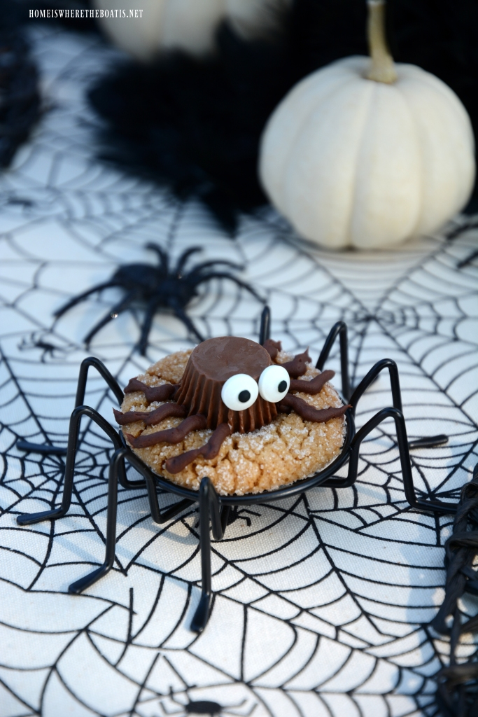Peanut Butter Spider Cookie | ©homeiswheretheboatis.net #halloween #recipes #cookie