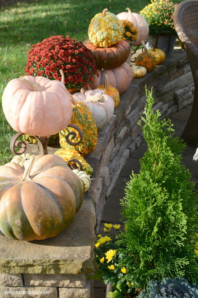 Pumpkins and mum on stone wall | ©homeiswheretheboatis.net #fall #alfresco #tablescape #lake
