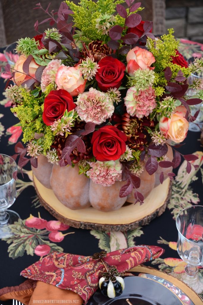 DIY Blooming Pumpkin the EASY Way, no cutting required! | ©homeiswheretheboatis.net #pumpkinvase #flowers #fall #centerpiece #pumpkin