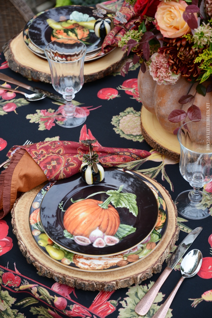 Fall table with pumpkin centerpiece | ©homeiswheretheboatis.net #fall #tablescapes #centerpiece #pumpkin