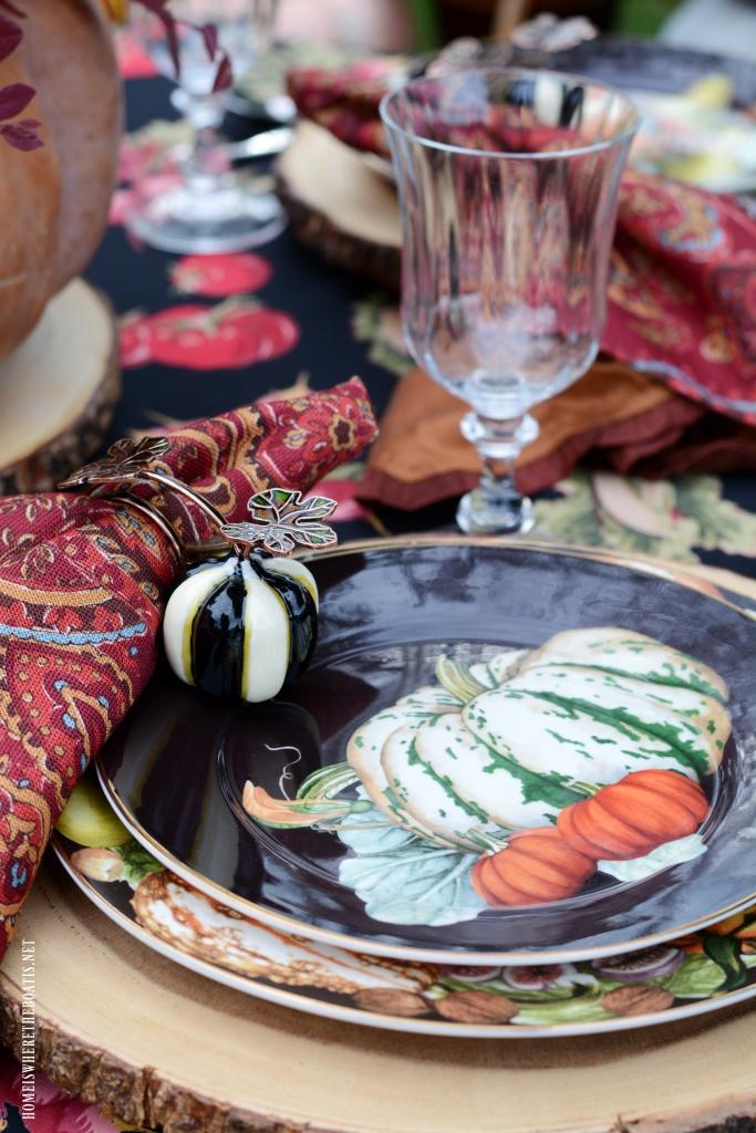Autumn table with pumpkin centerpiece   ©homeiswheretheboatis.net #fall #tablescapes #centerpiece #pumpkin