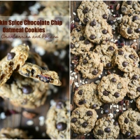 Pumpkin Spice Chocolate Chip Oatmeal Cookies with Cranberries and Pecans
