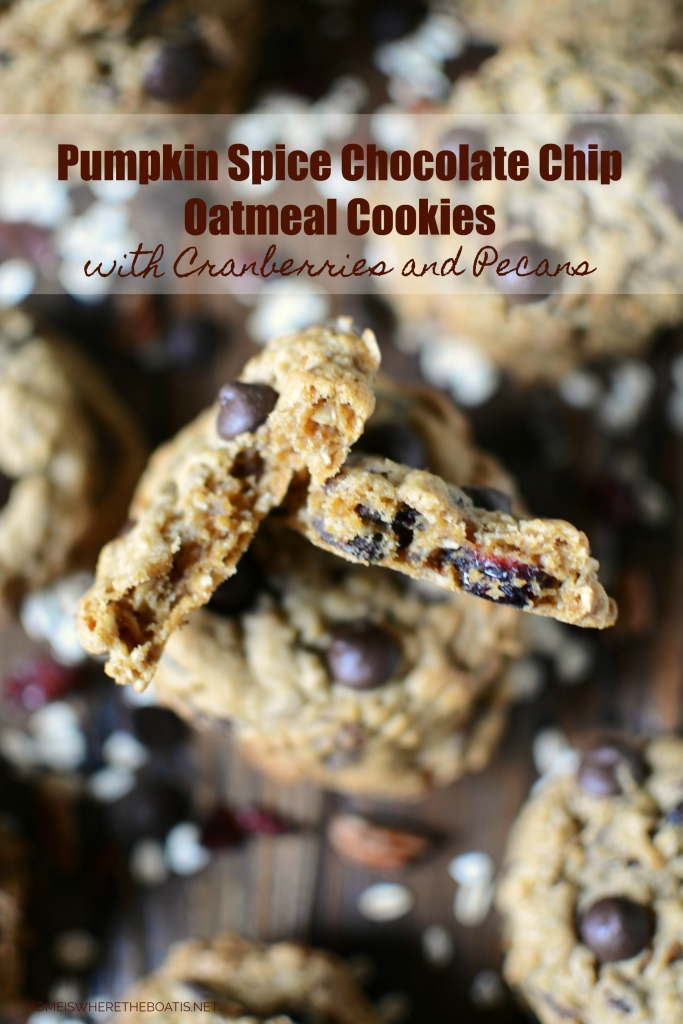 Pumpkin Spice Chocolate Chip Oatmeal Cookies with Cranberries and Pecans | ©homeiswheretheboatis.net #chocolatechip #cookies #fall #oatmeal #pumpkinspice #recipe #cranberries