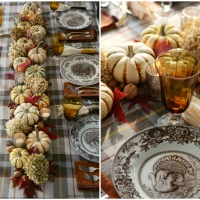 Giving Thanks Table with Mix and Match Turkeys, Plaid and an Easy Centerpiece