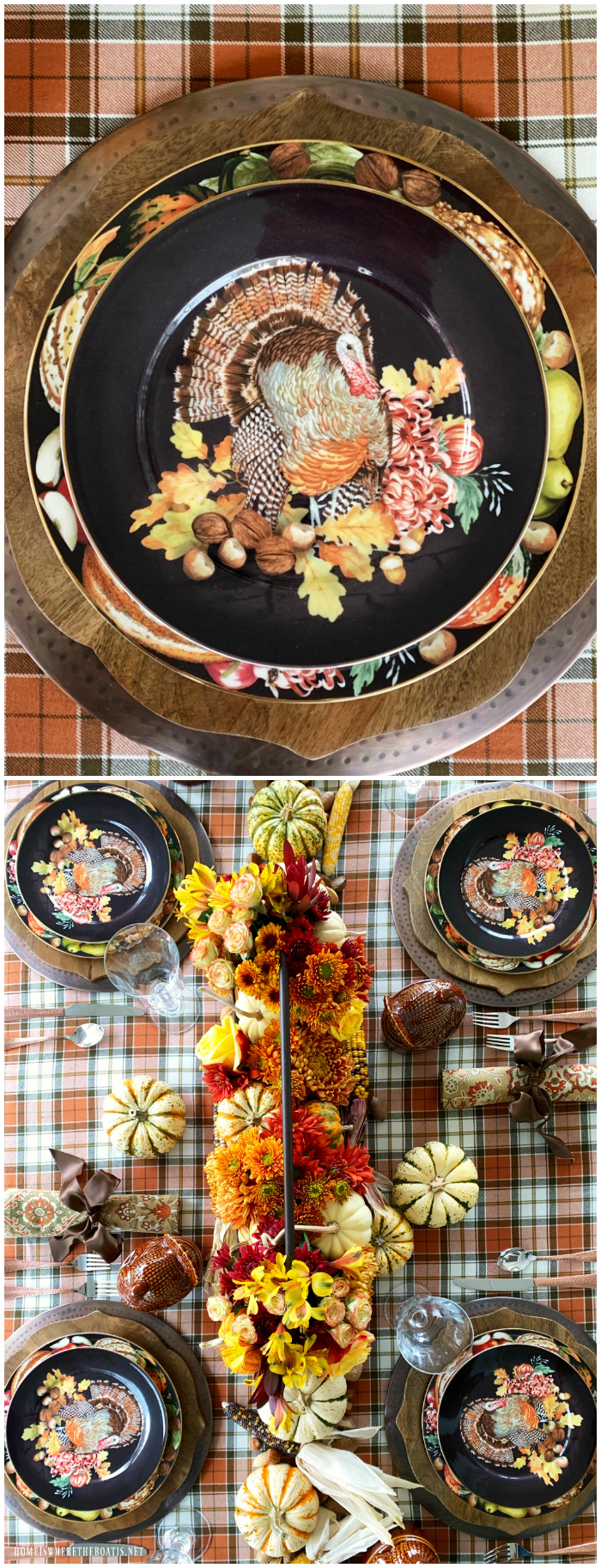 A Harvest of Blooms + Harvest Pumpkin Turkey Tablescape | ©homeiswheretheboatis.net #thanksgiving #tablescapes