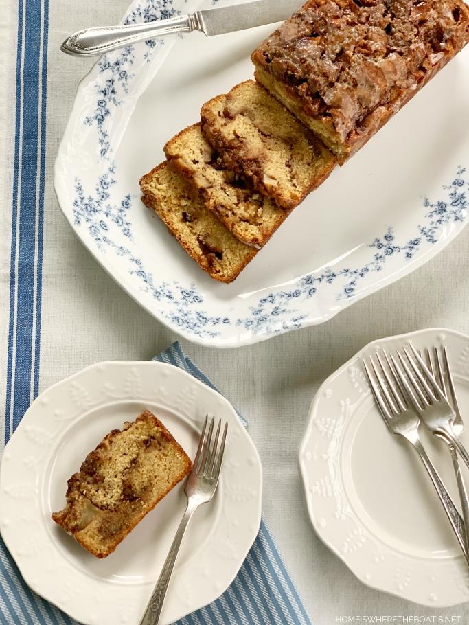 Cinnamon Swirl Apple Fritter Bread | ©homeiswheretheboatis.net #apple #bread #cake #recipes