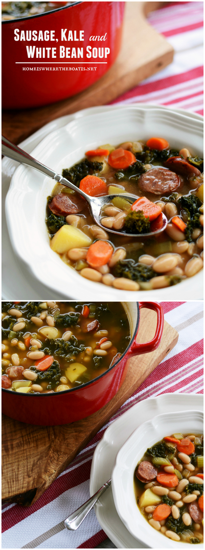 A Hearty Winter Soup: Sausage, Kale and White Bean Soup | ©homeiswheretheboatis.net #soup #recipes
