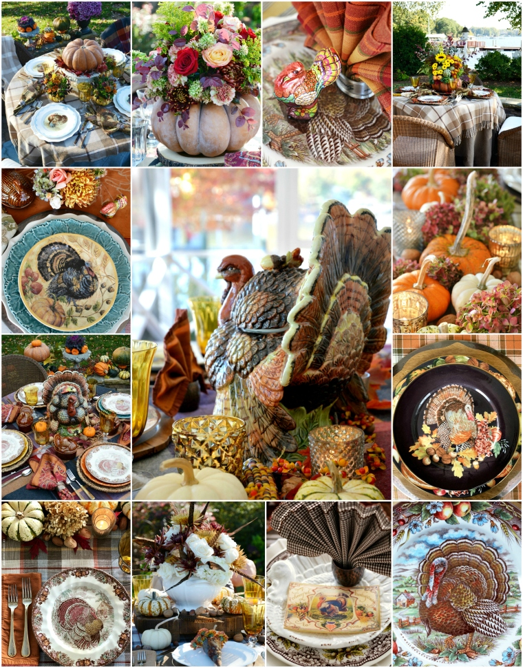 A harvest of Thanksgiving table and centerpiece inspiration w | ©homeiswheretheboatis.net #Thanksgiving #tablescapes #alfresco #tablesetting #pumpkinvase