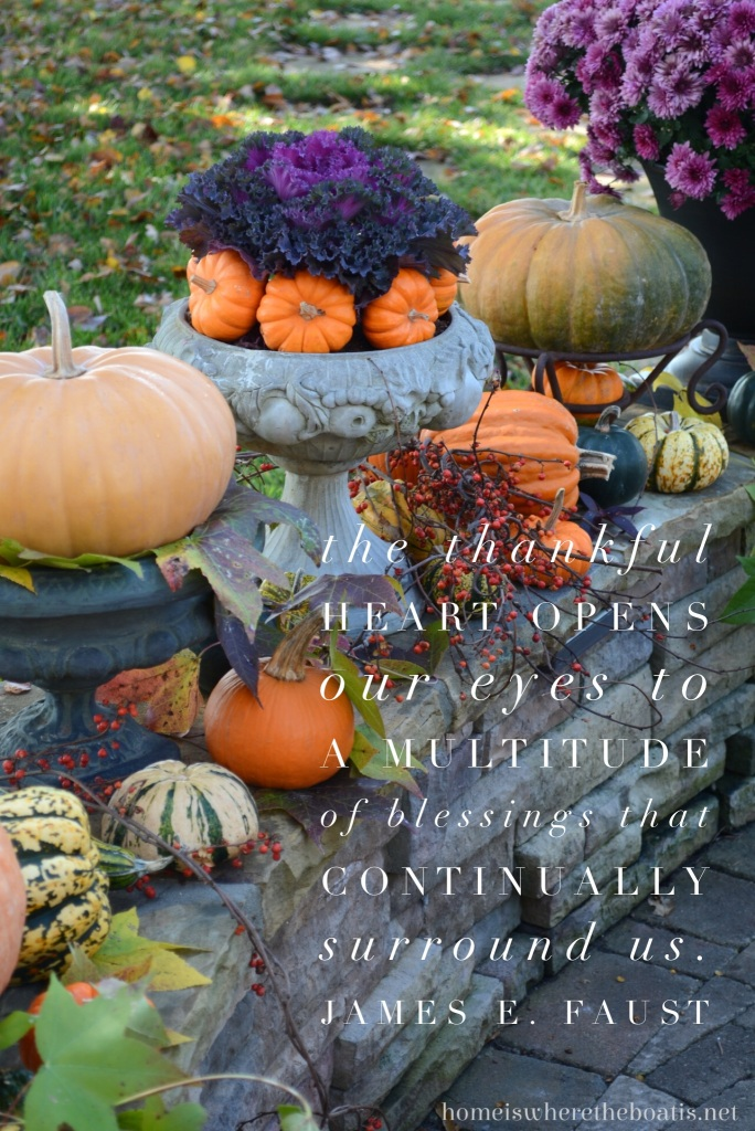 The thankful heart opens our eyes to a multitude of blessings that continually surround us. | ©homeiswheretheboatis.net #thanksgiving #quotes #blessings