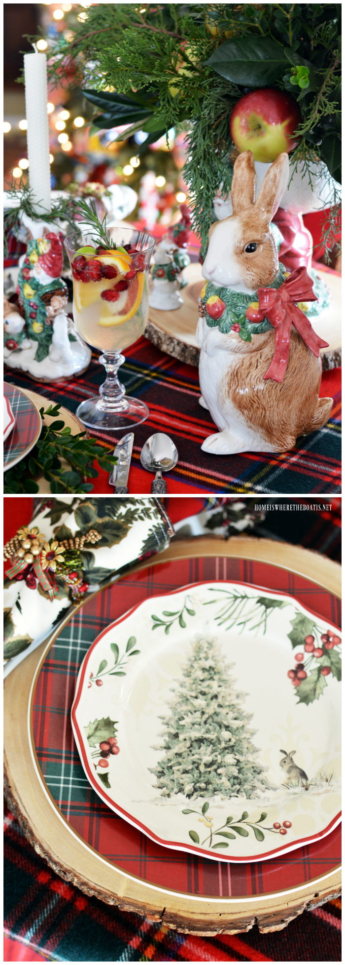Christmas table with tartan, greenery and Fitz and Floyd bunnies | homeiswheretheboatis.net #tablescapeS #christmas #tartan