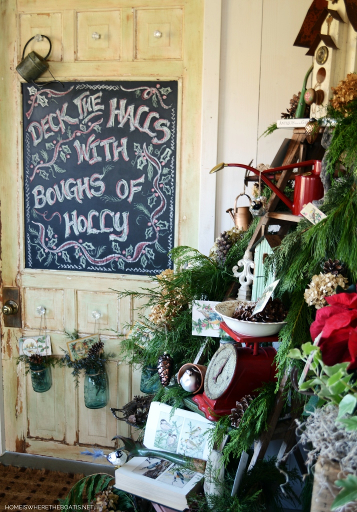 Chalkboard door and ladder tree for Christmas in Potting Shed | ©homeiswheretheboatis.net