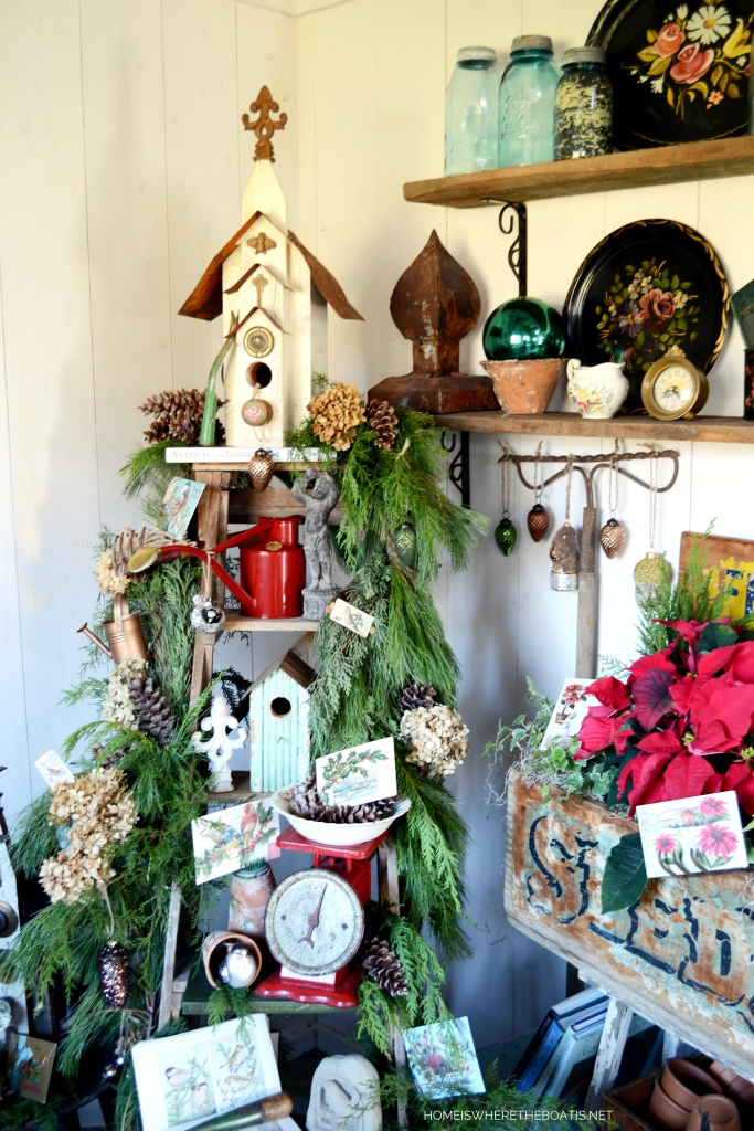 Ladder Tree with bird houses in Potting Shed for Christmas | ©homeiswheretheboatis.net