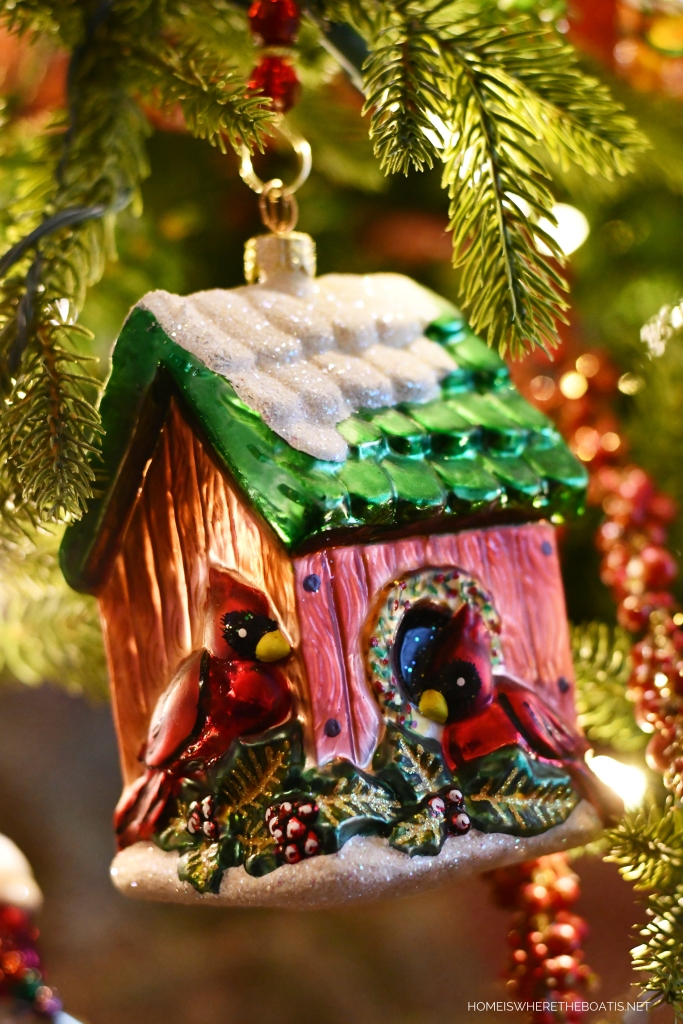 Cardinals Birdhouse Christmas Tree Ornament | ©homeiswheretheboatis.net #Christmas #tree