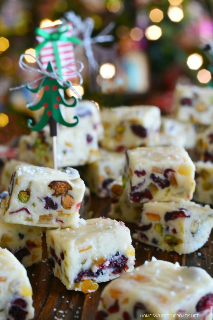 White Chocolate Cranberry-Orange-Pistachio Fudge | ©homeiswheretheboatis.net #fudge #Christmas #recipe #easy