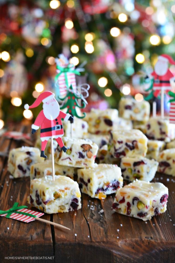 White Chocolate Cranberry-Orange-Pistachio Fudge   ©homeiswheretheboatis.net #fudge #Christmas #recipe #easy