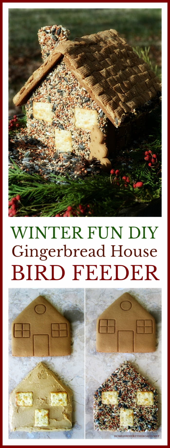 Make an edible house for the birds, a fun activity with the kids using a gingerbread house kit from the grocery store!