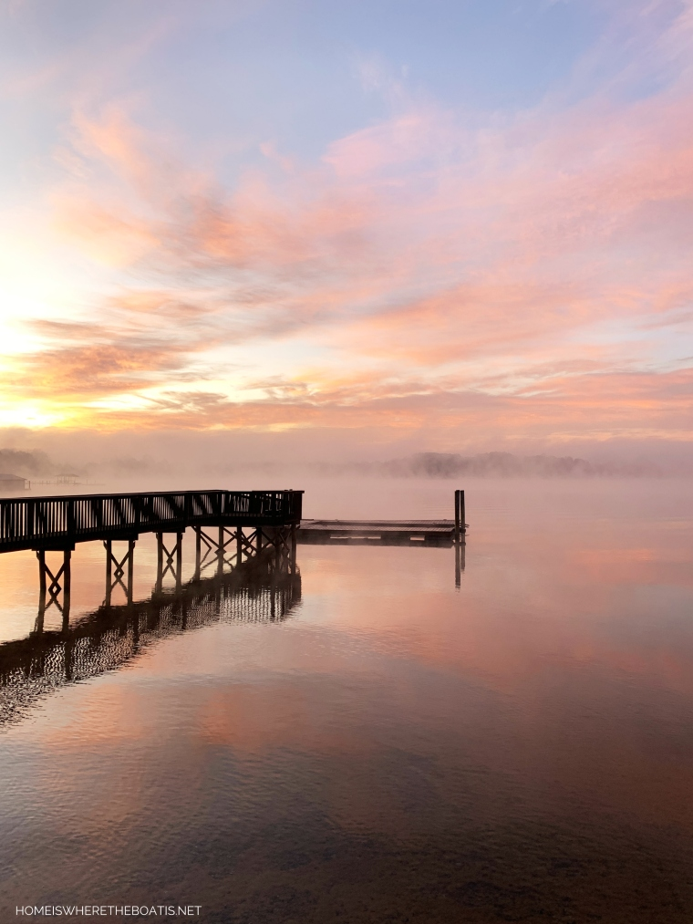 Sunrise with steam fog on Lake Norman   ©homeiswheretheboatis.net #LKN #sunrise