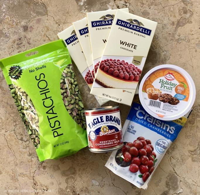 White Chocolate Cranberry-Orange-Pistachio Fudge Ingredients | ©homeiswheretheboatis.net #fudge #Christmas #recipe #easy