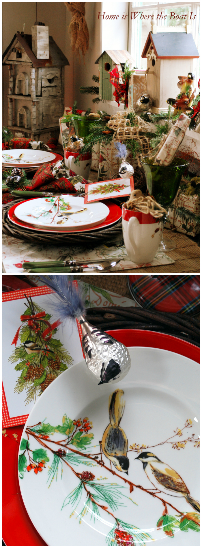 Lenox Winter Song, and Christmas nesting in the Potting Shed and Recycled Pottery Barn Bag Gift Wrap | homeiswheretheboatis.net #Christmas #bird #tablescape #pottingshed